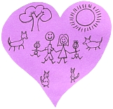 child's drawing of family inside a heart-shape