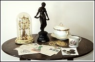 Collectables on table
